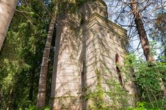 The time-destroyed romantic chapel-tomb 1914. Manor Zavetnoye. Novgorod Region, Russia Royalty Free Stock Images