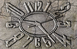 Time destroys even stone. Cracked stone clock Stock Images