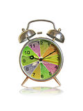 Time for diet and fitness. Alarm clock with fruity dial Stock Photography