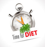 Time for diet sign. Stopwatch with carrots for hands and a time for diet sign, isolated on a white background Stock Photos