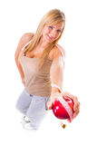 Time for diet slimming. Woman on scales apple measuring tape Royalty Free Stock Photography
