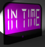 In Time Digital Clock Means Punctual Or Not Late. In Time Digital Clock Meaning Punctual Or Not Late Royalty Free Stock Photography