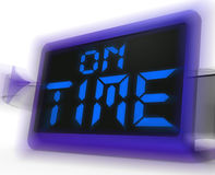 On Time Digital Clock Shows Punctual And Reliable Stock Photos