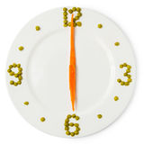 Time of dinner, сlock from plate, carrots and green peas. Isolated on white background Royalty Free Stock Image