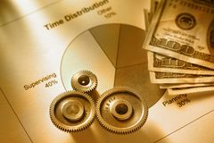 Time distribution diagram with mechanical wrench and money Stock Images