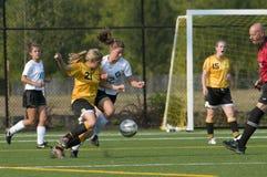 Time do colégio das meninas do futebol Imagem de Stock Royalty Free