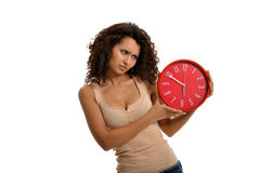 Time Does Not Pass!. Beauty looking to the time that does not pass royalty free stock photo