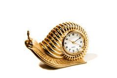 Time draggin by 02. A golden snail clock time piece on a white isolated background royalty free stock images