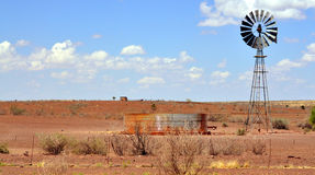Time of drought. Water for the cattle in a Namibian desert Royalty Free Stock Photography