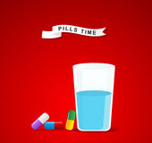 It is time for drugs,pill.Medical pill and glass of water for ta Stock Image