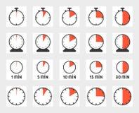 Time duration icon set. Time duration, pixel perfect icon set, size 128 px , 4 px stroke Stock Photos