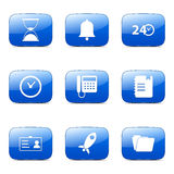 Time Duration Square Vector Blue Icon. Design Set Stock Photo