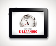 Time for E-Learning sign vector illustration