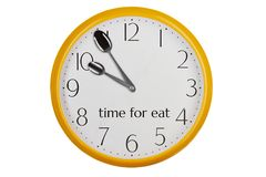 Time for eat. Yellow kitchen wall clock reminding about meal time Royalty Free Stock Photography