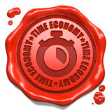 Time Economy - Stamp on Red Wax Seal. Royalty Free Stock Photo