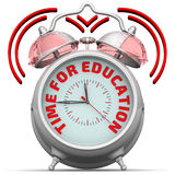 Time for education. The alarm clock with an inscription. Alarm clock with the red words `TIME FOR EDUCATION`. 3D Illustration. Isolated Stock Photography