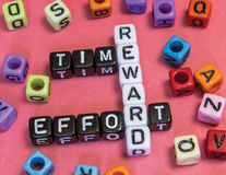 Time Effort Reward. Puzzle concept Royalty Free Stock Images