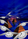Time and Eternity. Winged clocks flying toward sunset over stone pyramids and a large body of water Vector Illustration