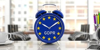 GDPR and European Union flag on an alarm clock on office background. 3d illustration royalty free illustration