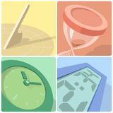 Time evolution icons. Four icons illustrating evolution of time: from ancient sundial to modern electronic clock Royalty Free Stock Photos