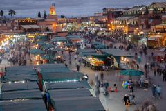 Jamaa el Fna Night Market, Marrakech Morocco Royalty Free Stock Images