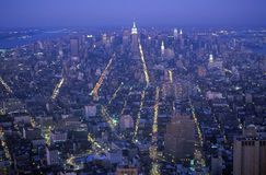Time exposure shot of Manhattan at night from above, New York City, NY Royalty Free Stock Image