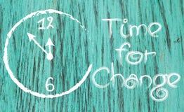 Time för ändring den inspirerande vit-målade klockan Royaltyfri Foto