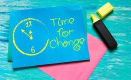 Time för ändring vit-målade inspirerande citationstecken för klocka Arkivbild