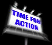 Time för handlingtecken visar angelägenhet rusar för att agera nu Arkivfoto