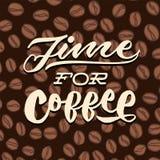Time för illustration för affisch för typografi för bokstäver för kaffetappninghand Royaltyfria Foton