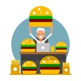 Time för lunch Affärsman på arbetsplatsen som är klar att ta en bre royaltyfri illustrationer