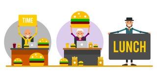 Time för lunch Uppsättning av tecknad filmaffärsmän i arbetsplatsen i f royaltyfri illustrationer