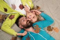Time for Fashion sale. Happy family in Autumn. Hello Autumn and leaf fall Dreams. Happy couple go shopping on black. Friday. I love you very much royalty free stock image