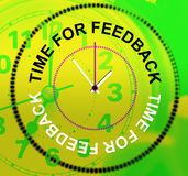 Time For Feedback Indicates Evaluation Satisfaction And Response Stock Photo