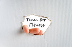 Time for fitness concept. Hand and text on the cardboard background Time for fitness concept Royalty Free Stock Photo