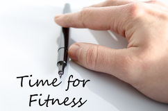 Time for fitness concept. Pen in the hand  over white background Time for fitness concept Royalty Free Stock Photography
