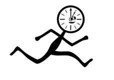 Time flies. Figure showing passage of time in form of running man Stock Photo