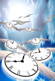 Time Flies. Winged clocks count off the hours as they fly into the distance Stock Illustration
