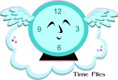 Time Flies Blue Clock Royalty Free Stock Photos