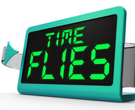 Time Flies Clock Means Busy And Goes By Quickly Stock Photos