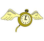 Time flies. A concept of a watch flying as a metaphor for the briefness of life Stock Photography
