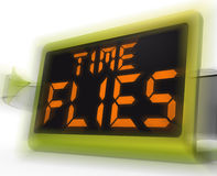 Time Flies Digital Clock Means Busy And Goes By Quickly Stock Photography