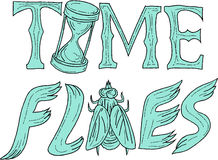 Time Flies Drawing. Drawing sketch style illustration of the words text Time Flies with hourglass and fly set on isolated white background Royalty Free Stock Photography