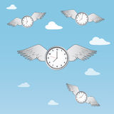 Time flies. Illustration of the concept of time flies with clocks having wings and flying through clouds Royalty Free Stock Images