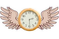 Time Flies concept. A round wooden clock with graphic wings as a metaphor for the concept that time flies. Life is short. Carpe diem. Time flies concept stock photo
