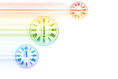Time Flies - Rainbow Speeding Clocks Stock Photography