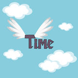 Time Flies. The word time in the sky with wings vector illustration