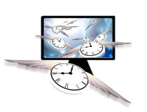 Time in Flight. Clocks with wings fly into sky on flat panel Royalty Free Stock Image