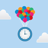 Time Floating Balloons Stock Photo