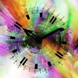 Light Spectrum Time. Time flow clock color light spectrum fantasy abstract 3d illustration, horizontal Stock Photo